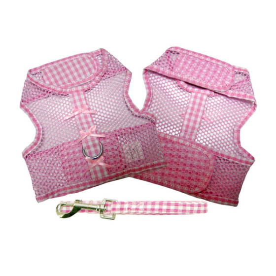 Pink Gingham and Bows Cool Mesh Dog Harness and Leash