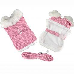 Pink Houndsooth Dog Coat