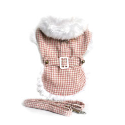 Pink Houndstooth and White Fur Dog Coat with Belt and Leash