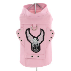 Pink Motorcycle Dog Jacket front view