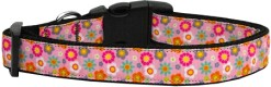Pink Spring Flowers Adjustable Dog Collar