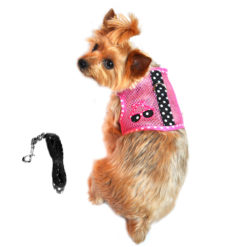 Pink and Black Sunglasses Cool Mesh Dog Harness and Leash