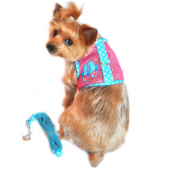 Pink and Blue Flip Flop Cool Mesh Dog Harness and Leash