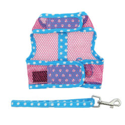 Pink and Blue Flip Flop Cool Mesh Dog Harness and Leash back