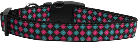 Pink and Blue Plaid Dog Collar