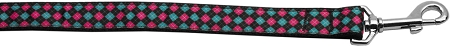 Pink and Green Plaid Diamond Dog Leash