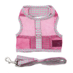 Pink and Green Plaid Seersucker Cool Mesh Dog Harness and Leash front