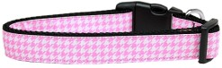 Pink and White Houndstooth adjustable dog collar