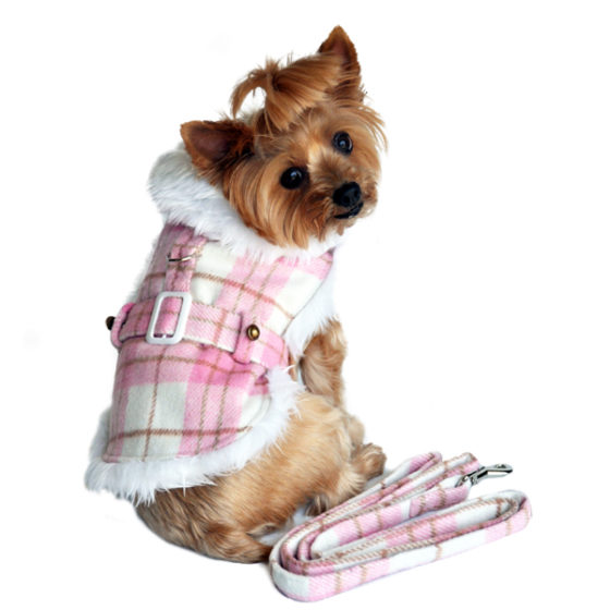 Pink and White Plaid Faux Fur Dog Coat with Belt and Leash