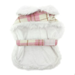 Pink and White Plaid Faux Fur Dog Coat with Belt and Leash back