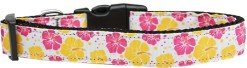 Pink and Yellow Hibiscus Flower Adjustable Dog Collar