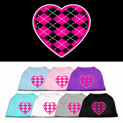 Pink hearts argyle colors t-shirt novelty