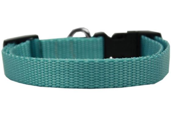 Plain Ocean Blue Nylon Dog Collar