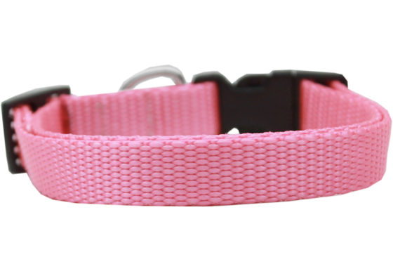 Plain Pink Nylon Dog Collar