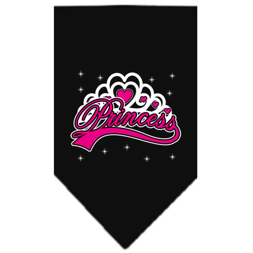 Princess and Crown dog bandana black