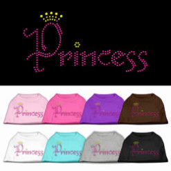 Princess crown rhinestones dog t-shirt colors