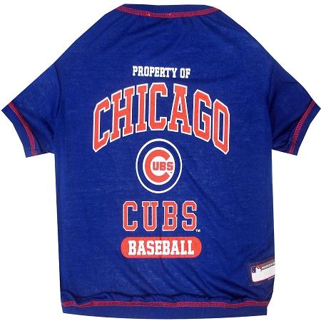 Property of Chicago Cubs baseball MLB dog tee shirt