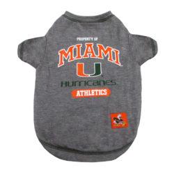 Property of Miami Hurricanes NCAA Dog Tee Shirt