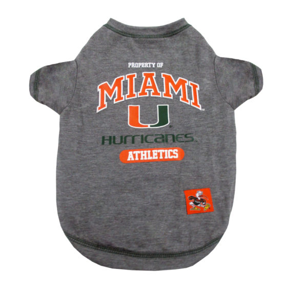 Property of Miami Hurricanes NCAA Dog Tee Shirt