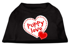 Puppy Love Screenprint hearts t-shirt sleeveless black