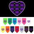 Purple Argyle heart dog bandana