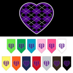 Purple Argyle heart dog bandana