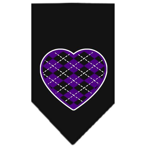 Purple Argyle heart dog bandana black