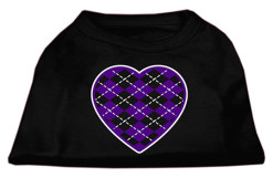 Purple Argyle heart sleeveless dog t-shirt black
