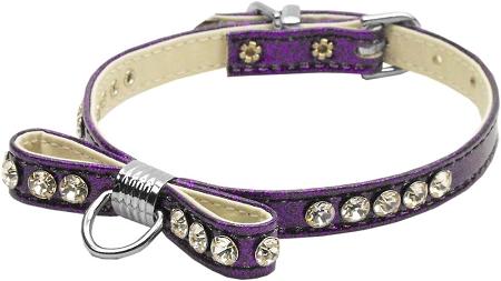 Purple Bow Dog Collar with Austrian crystals