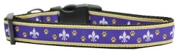 Purple and Yellow Fleur de Lis Adjustable Dog Collar Mardi Gras