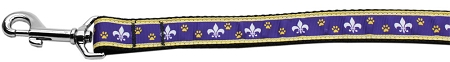 Purple and Yellow Fleur de Lis Dog Leash Mardi Gras