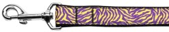 Purple and Yellow Tiger Stripes nylon webbing dog leash
