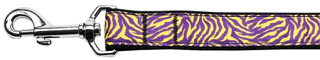 Purple and Yellow Tiger Stripes nylon webbing dog leash