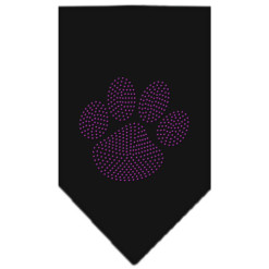 Purple dog paw rhinestone bandana black
