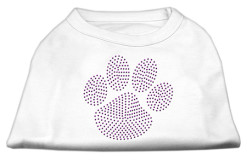 Purple dog paw rhinestones dog t-shirt white