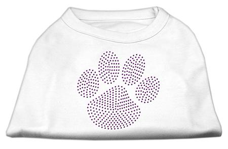 Purple dog paw rhinestones dog t-shirt white