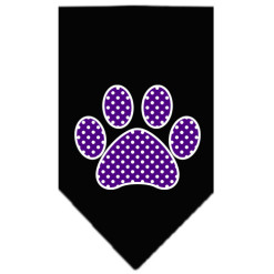 Purple paw polka dot dog bandana black