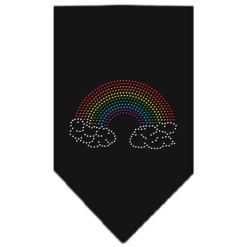 Rainbow and clouds rhinestone dog bandana black