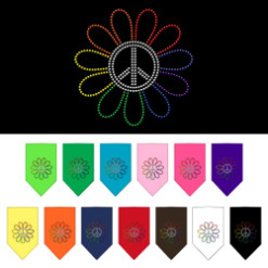 Rainbow flower peace sign rhinestone dog bandanas