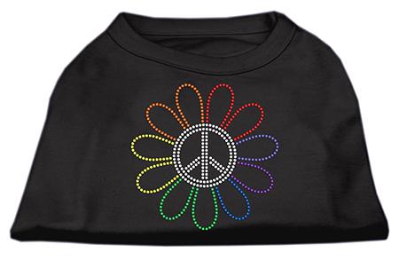 Rainbow flower peace sign rhinestones dog t-shirt black