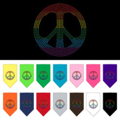 Rainbow peace sign rhinestone dog bandana