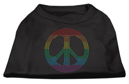 Rainbow peace sign rhinestones dog t-shirt black