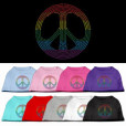 Rainbow peace sign rhinestones dog t-shirt colors