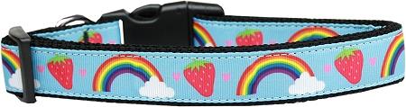 Rainbows and Strawberries Adjustable Dog Collar Blue