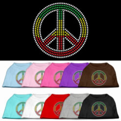 Rasta colors Peace sign rhinestones dog t-shirt colors