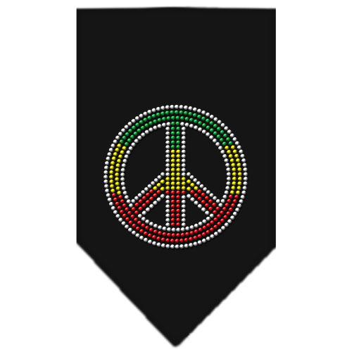 Rasta colors dog rhinestone bandana black