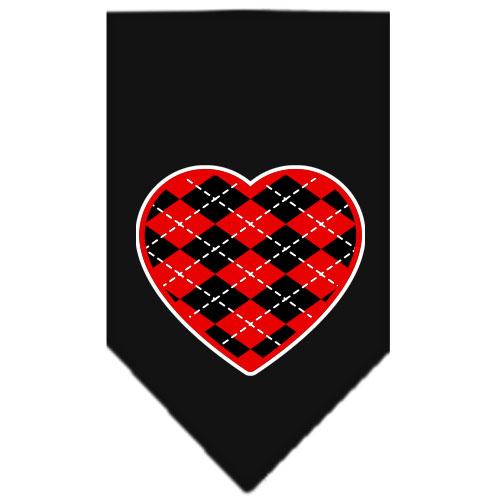 Red Argyle heart dog bandana black