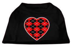 Red Argyle heart sleeveless dog t-shirt black
