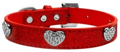 Red Glitter Dog Collar with Crystal Studded Heart Charms