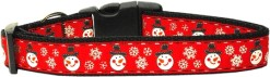 Red Snowman and Snowflakes adjustable Dog Collar